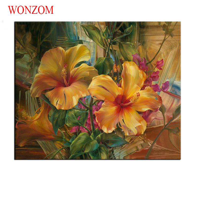 Yellow Lily Painting By Numbers On Canvas DIY HandPainted Unframed Pictures For Home Decor Christmas Gift Coloring By Numbers