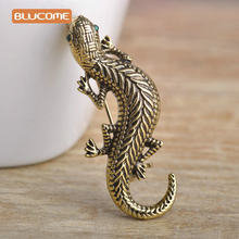 Blucome Vintage Gecko Lizard Brooch With Green Eyes Statement Clothes Accessories Animal Brooches For Women Kids Sweater Suits(China)