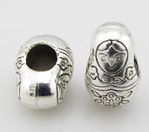 A21203 20pcs diy tibetan silver big matryoshka doll charm bead 9x13mm