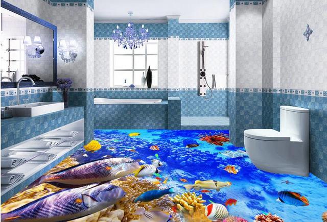 Custom D Floor Murals Photo Wallpaper Ocean World D Floor Tiles - 3d printed floor tiles