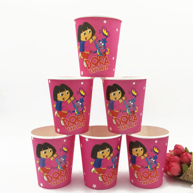 10pcslot Dora Party Supplies Paper Cup Cartoon Birthday Decoration