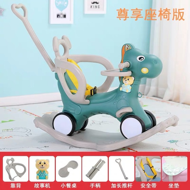 Baby Rocking Chair Baby Rocking Horse Wooden Multifunctional Musical Ride On Toys 5