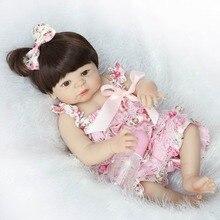 """NPK brand girl doll reborn 22"""" Full silicone vinyl body children play house toys bebe gift boneca reborn"""