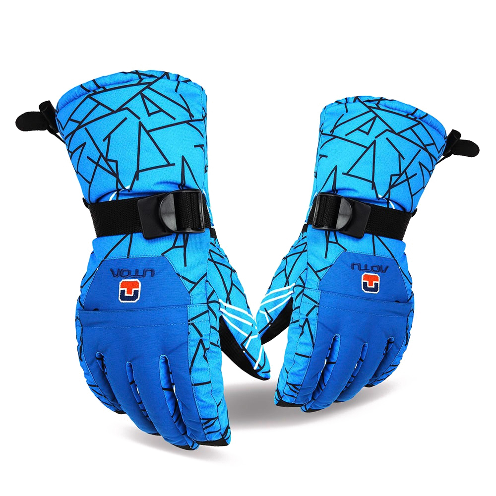 Aotu 1 Paired man Outdoor Water Resistant Windproof Warm Skiing Snowboard Gloves (Size: One Size, Color: Blue)