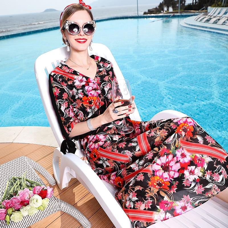 100 Silk Bohemian Print V Neck Half Sleeve Beach Party Dress 2019 New Women Summer A Line Dress in Dresses from Women 39 s Clothing