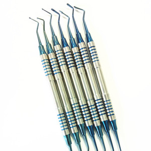 Image 3 - 7pcs Dental Composite Resin Filling Spatula Titanium plated Head Resin Filler Set thick handle Restoration set Dental Instrument