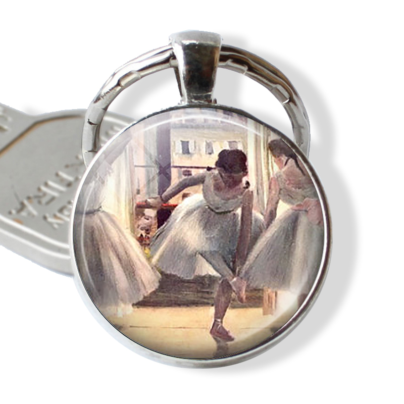 BALLET Keychain By Edgard Degas Keyring Art Literary Jewerly For Dancer Ballerina Cabochon Glass Gift Key Chain Ring