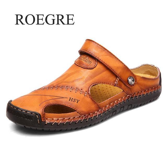 קלאסי גברים רך סנדלי נוח גברים קיץ נעלי עור סנדלי גדול גודל רך סנדלי גברים רומי נוח גברים קיץ