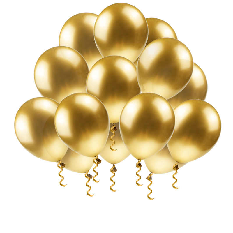 Thick Gold Metal Balloon 12inch Flying Latex Baloon Chrome Metallic Color Inflatable Balloon Air Ball Baby Shower Birthday Decor