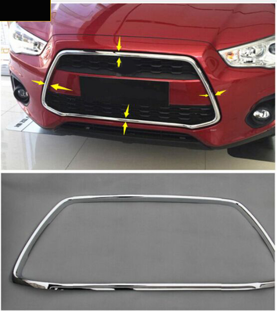 For Mitsubishi ASX Outlander Sport 2013 2014 2015 ABS Chrome Front Center Grille Grill Frame Cover 1pcs NEW !! silver matte chrome interior gear shifter panel cover trim for mitsubishi asx outlander sport at 2013 2014 2015 2016