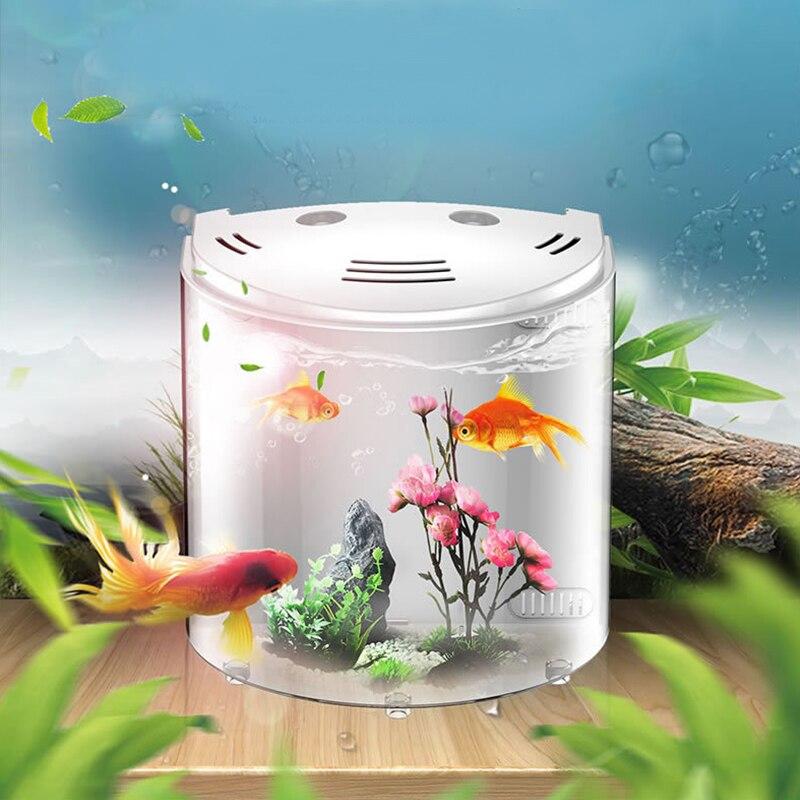 20cm Small 5L Desktop Fish tank USB cable, Acrylic Aquarium Tank for house decoration, LED light + Water Pump Filter Sponges