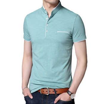2019 New Men Mandarin Collar T-Shirt basic tshirt male short sleeve shirt Tops Tees Cotton T Shirt ABZ354 - DISCOUNT ITEM  49% OFF All Category