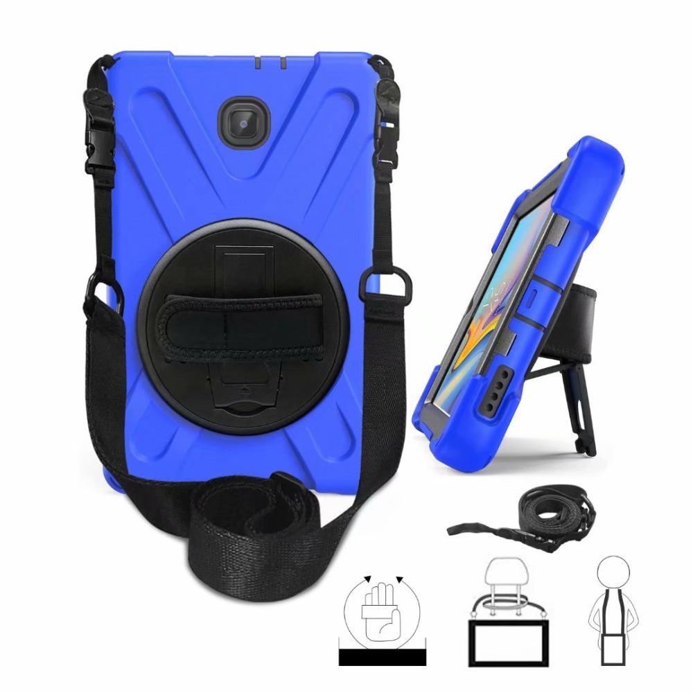 For Samsung Galaxy Tab A 8.0 2018 T387 Tablet Kids Safe Shockproof Heavy Duty Silicone PC Kickstand Case W/ Wrist Shoulder Strap
