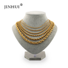 Jin Hui African fashion width 2 5 6 8mm length 45 50 60cm Men Gold color Necklaces Women give boy friends Jewelry Birthday Gift(China)