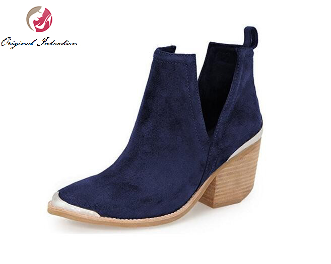 Original Intention Women Ankle Boots Round Toe Square Heels Boots Black Blue Purple Wine Red Brown Shoes Woman Plus US Size 4-15 new concise women ankle boots round toe wedges boots elegant black red turquoise brown shoes woman plus us size 4 15