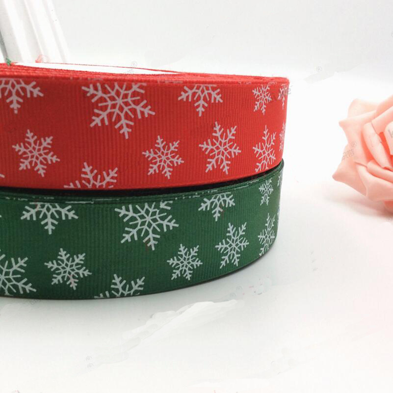 25mm 50 Yards Snowflake Printing Grosgrain Ribbon Gift Packaging DIY Accessories Handmade Materials Christmas Decoration in Ribbons from Home Garden