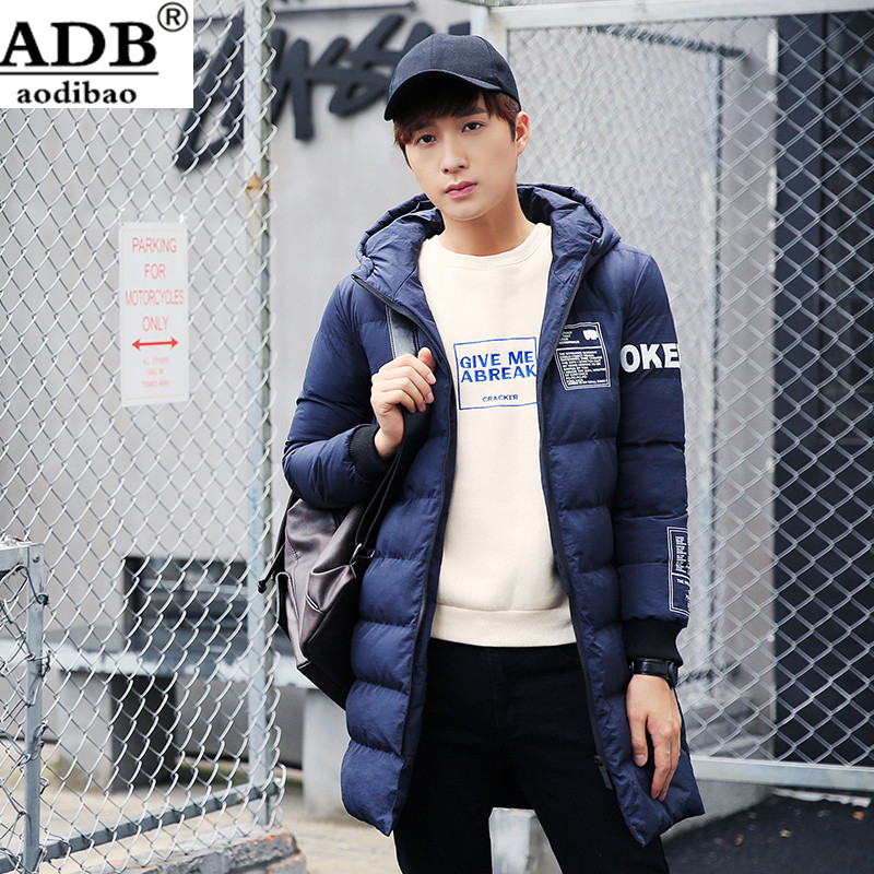 Aodibao 2016 Winter 2XL Long Coat Men Hooded Zipper Slim Cotton Printed Pattern Warming Christmas snow Jacket Men Streetwear