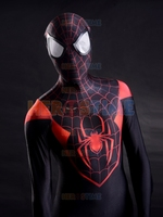 3D Printing Ultimate Miles Morales Spider Man Costume Fullbody Red Black Spiderman Costume