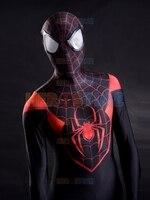 3D Printing Ultimate Miles Morales Spider Man Costume Fullbody Red Black Spiderman Costume
