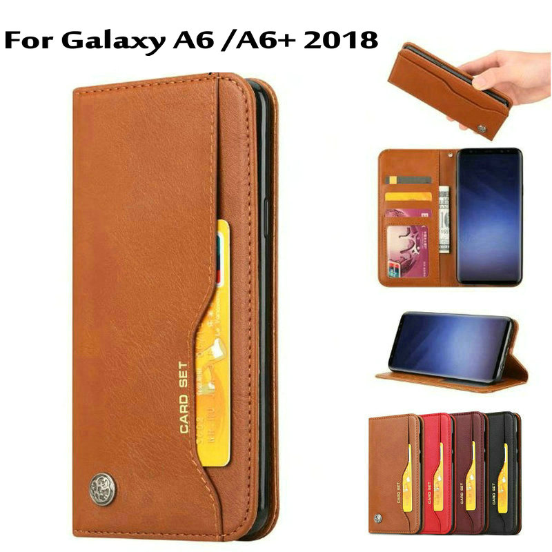 A6 Plus case New Fashion Wallet Luxury Leather case for Samsung Galaxy A6 / A6+ 2108 ip Stand Card Slots Phone Fundas Bag Cases
