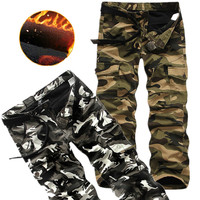 2016 Winter Fleece Lined Men S Cargo Pants Warm Double Layer Military Camouflage Pants Casual Baggy