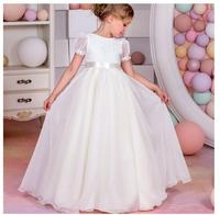 Girls Formal Dress 2017 Sleeveless Flower Girls Dresses Kids Party Chiffon Lace Bow Ball Gown Children