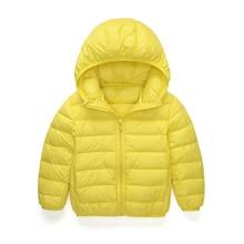 2-13Y Бренд Ultra light детские Девушки парни пуховик Настоящее 90% утка вниз пальто зима теплая детская одежда с капюшоном и карманом