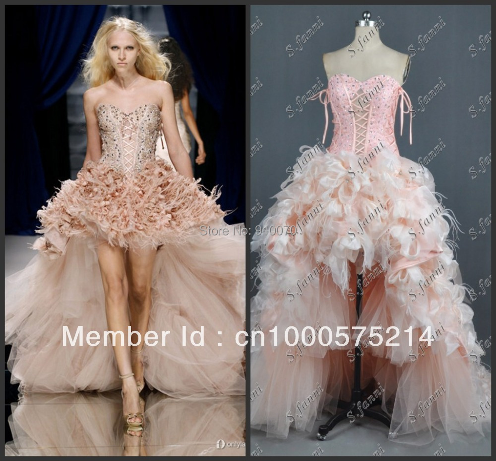 2014 Free Shipping Sweetheart Hi Low Dress Beaded Tulle