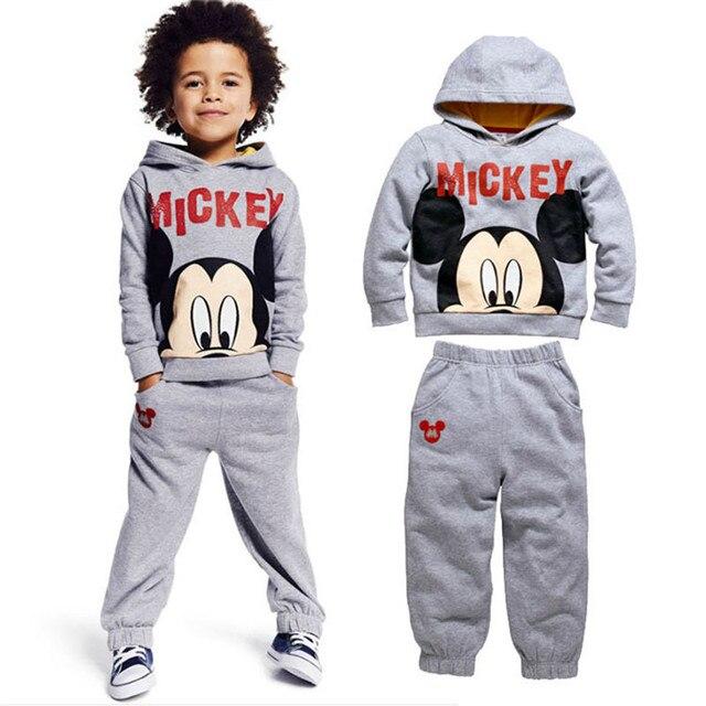 be97c38aeb0c0 Roupas Infantis Menino crianças Roupas de bebê Roupas meninos Mickey Mouse  traje com capuz + calça