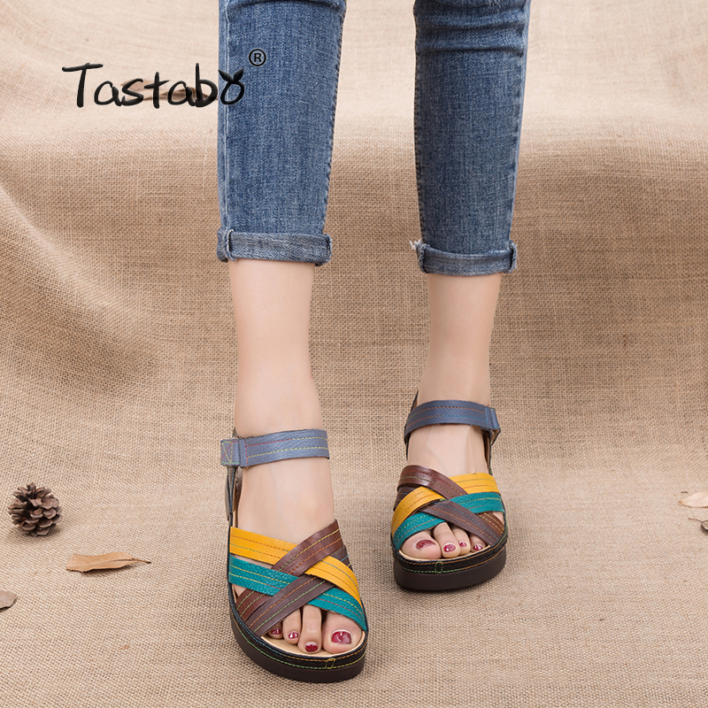 Tastabo Wedges Platform Women Sandals Fashion Quality Comfortable Bohemian Women Sandals For Lady Shoes High Heel Shoes
