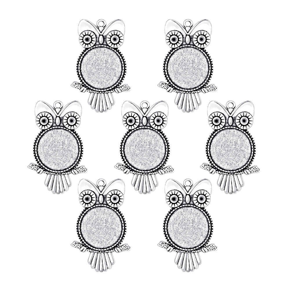 5pcs Antique Bronze/Silver Owl Pendant Settings Cabochon Base Bezel Trays Blank Fit 20/25mm Glass Cabochons DIY Necklace Making 10pcs stainless steel pendant settings clasps cabochon base bezel trays blank fit 6 8 10 12 14 16 18 20mm cabochons cameo diy