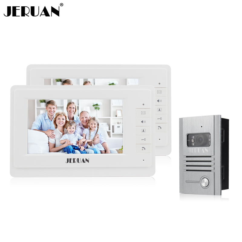 JERUAN 7 inch video door phone intercom system 2 monitors 1 camera doorphone Speaker intercom black new original lcd display touch screen digitizer replacement assembly with tools for htc desire 500 free shipping