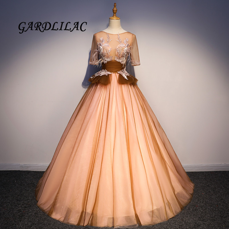 Brun Quinceanera robes demi manches Tulle robe de bal robe formelle de bal vestido 15 anos vestidos de quinceaneras