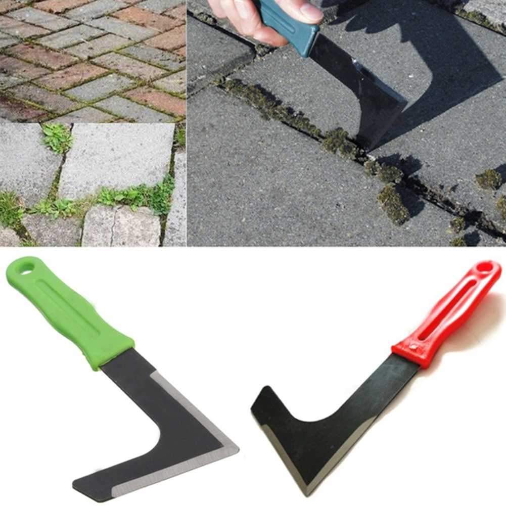 Metal small mowing sickle knife L shaped garden patio weed cutter paving weeds stone remove groove weeder