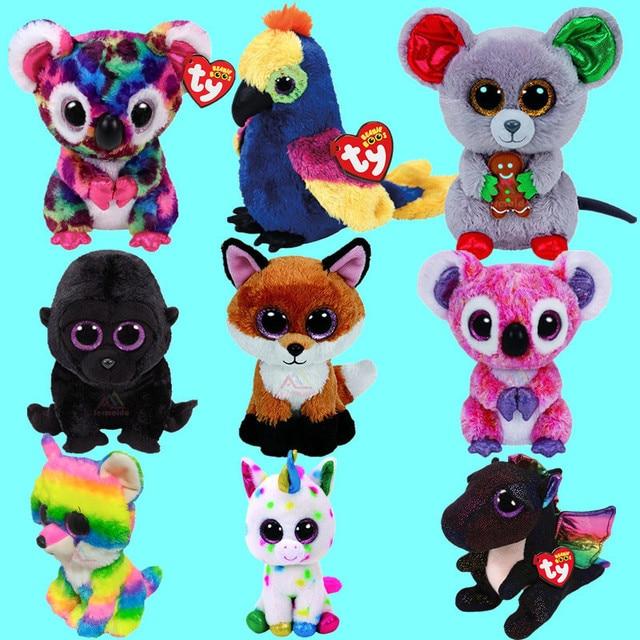 TY Beanie Boo Fantasia Unicorn Koala Slick Brown Fox George the Gorilla Black  Dragon Anora Mac the Mouse Plush Soft Stuffed Toys 9bfd550d5e9