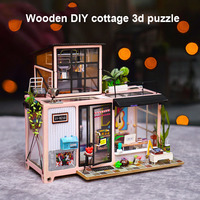 DIY House Toy Set Wooden Cabin 3D Puzzle Cottage Assembled Toys Home Decoration AN88