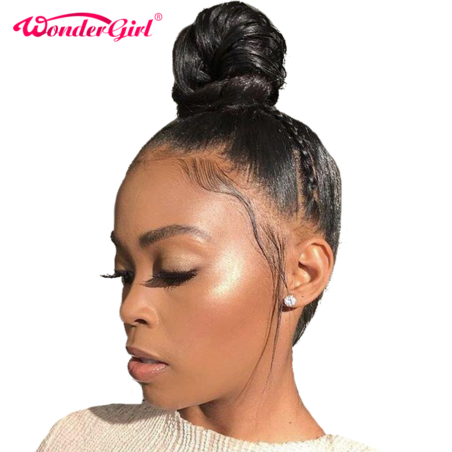 Wonder Girl 360 Lace Frontal Paryk Pre Plucked With Baby Hair Remy Brasilian Straight Lace Front Human Hair Parykker For Women Black