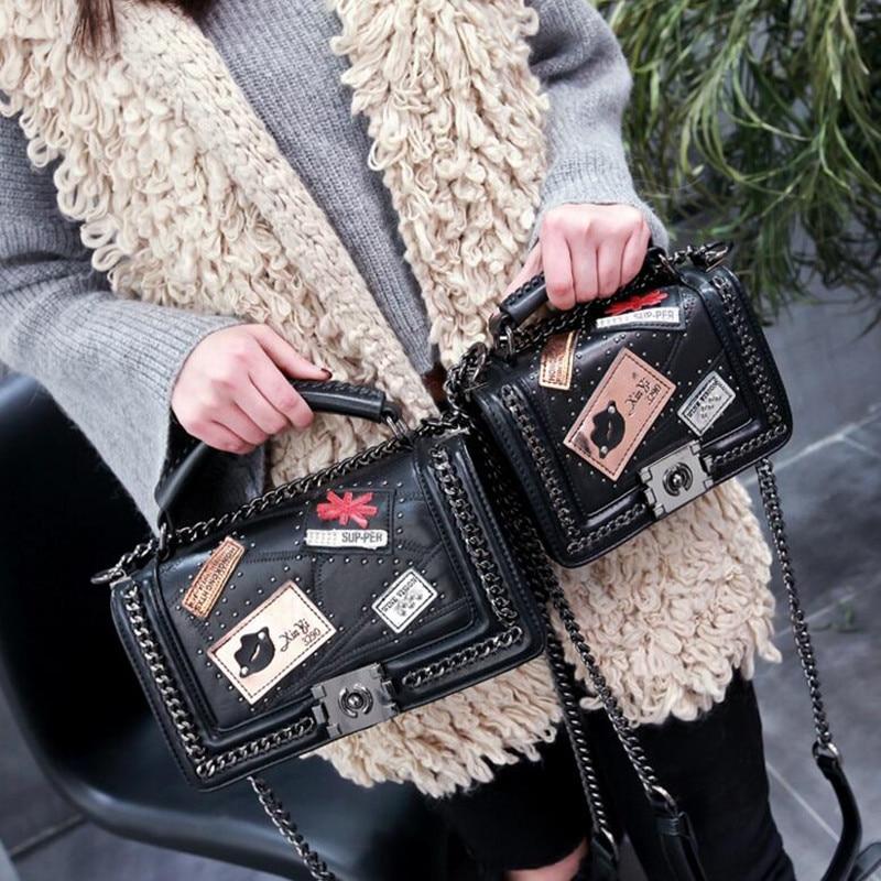 ФОТО 2017 Newest Fashion Women Bag Weave Sheepskin Leather Rivet Chains Handbags Crossbody Vintage Small Messenger Bags For Gift