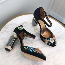 High quality rhinestone high heeled pumps shoes Women's retro embroidered crystal velvet high heels wedding shoes EU34-41 BY650