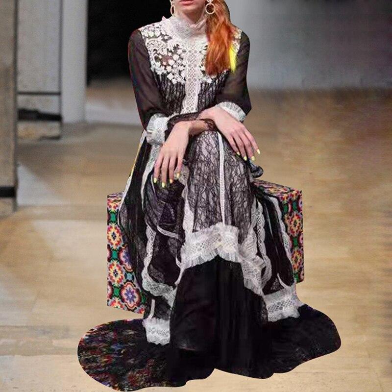 Haute qualité nouvelle mode 2019 Designer robe de piste femmes à manches longues couleur bloc à volants dentelle longue robe