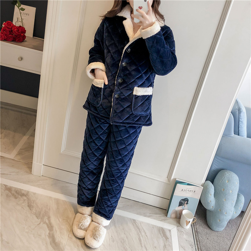 Winter Thick 3 Layers Cotton Padded Pajamas Set Women Solid Flannel 2 Pcs Pyjamas Suit Female