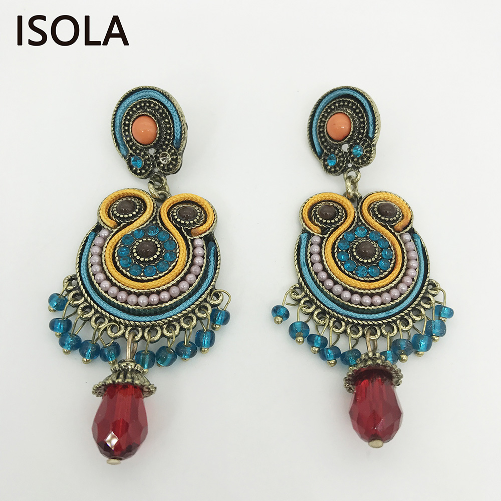 ISOLA Vintage Resin beaded Filled Rhinestone Soutache Earring Ethnic Style Statement Boho Earrings For Traditional Festival malaysian ethnic festival foods