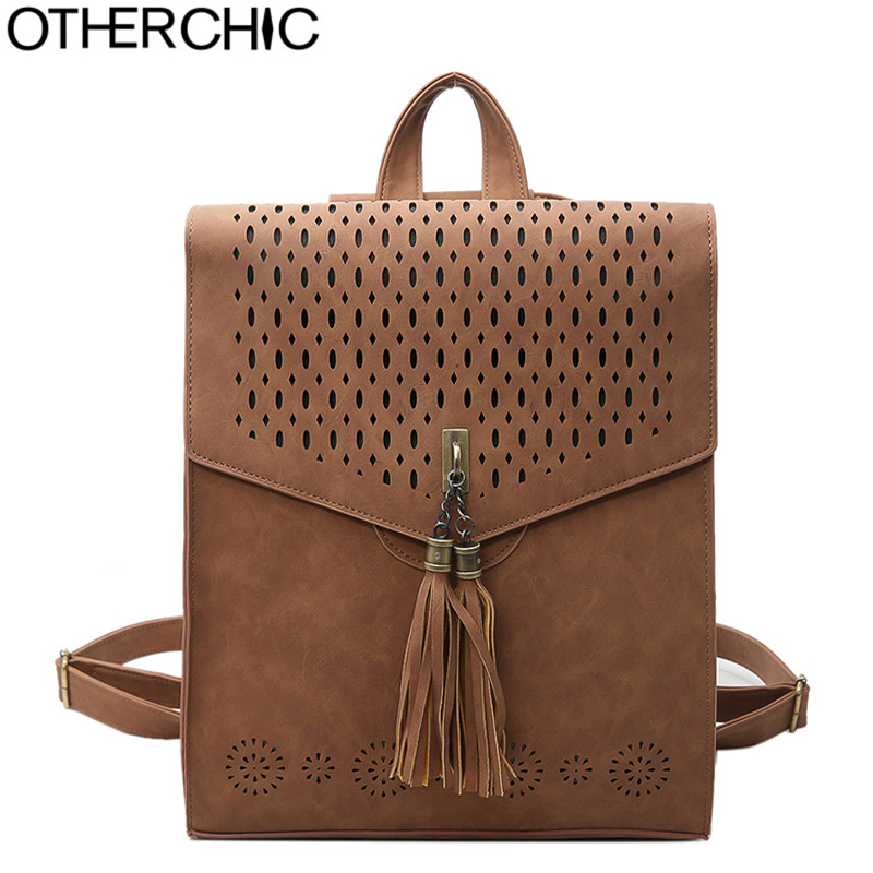OTHERCHIC Tassel Leather Backpack Fashion Women Backpacks Teenager School Bags Vintage Female Hollow Backpacks Sac a