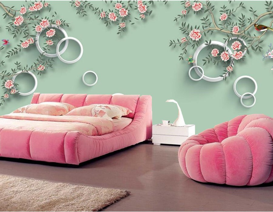 Custom 3D circle background Chinese flower and bird papel de paredel ...