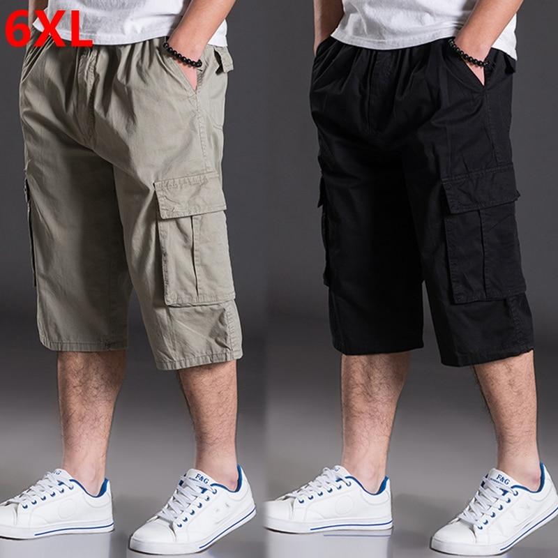 Summer plus size pants mens calf-length pants plus plus casual pants loose oversize more pockets thin pants