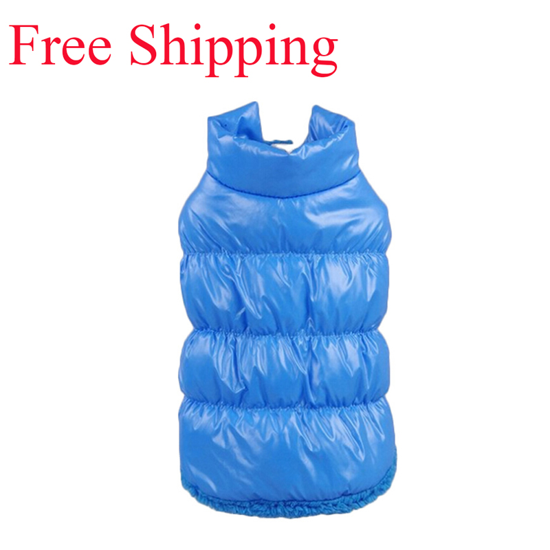 GLOBAL FREE SHIPPING Winter Dogs Pet Cat Padded Vest Coat Puppy Warm Down Fleece Polyester Jackets Clothes XS-XXXL