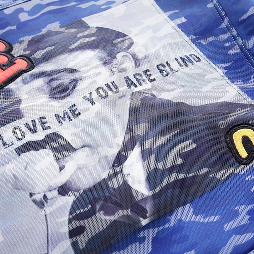 Veste Marée Manteaux Streetwear Camouflage Dames Femmes Gamme Baseball Hop Bleu Haut Broderie De Hip Street High Hauts Lettre Marque Vestes qTIRg0Rfw