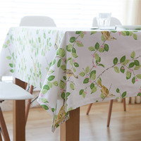 Cotton Simple Leaves Print Table Cloth Rectangular Wedding Decoration Tablecloths Waterproof Oilproof Plastic Table Cover