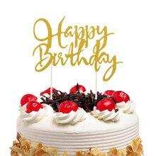 Happy Birthday Cake Topper Glitter Flags Kids Wedding Party Baking Decor Babyshower 20pcs/lot DIY