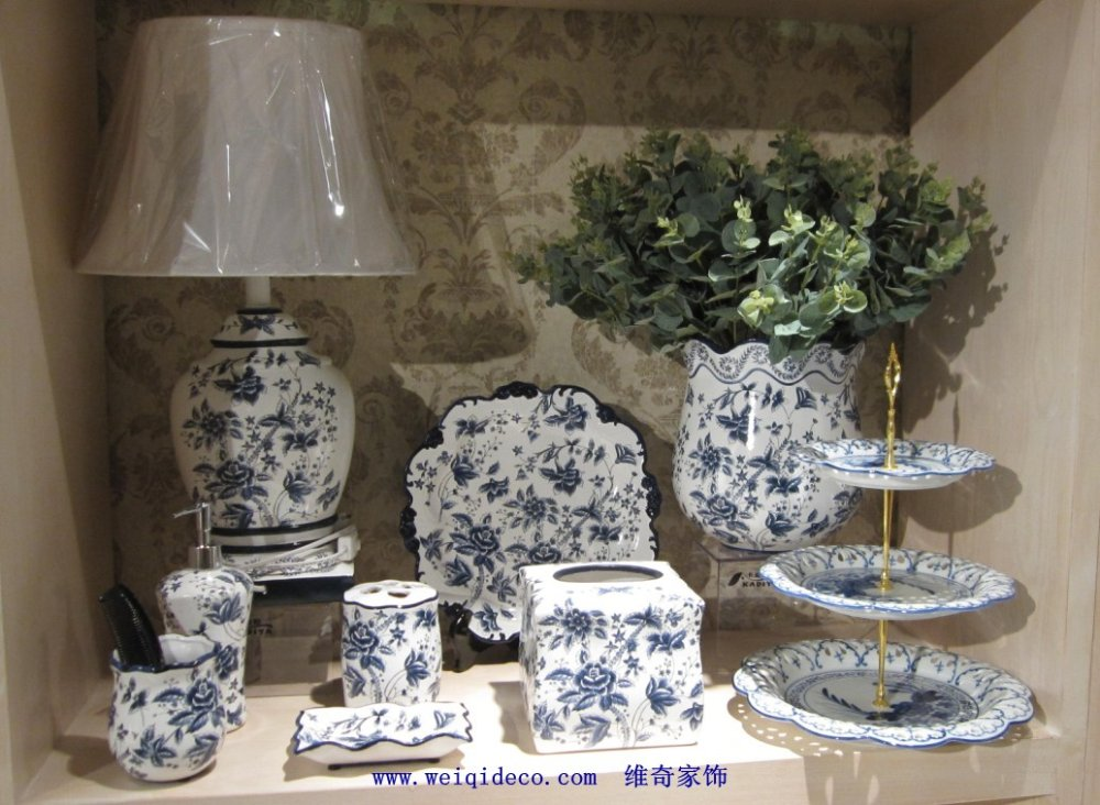 Blue And White Porcelain Bathroom Accessory Ceramic In Bathroom Accessories Sets From Home